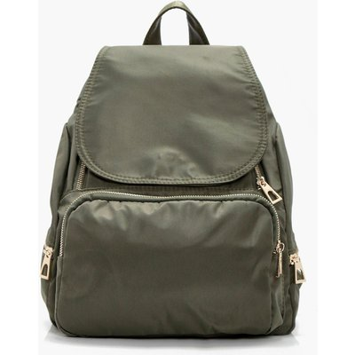Nylon Zips And Flap Rucksack - khaki