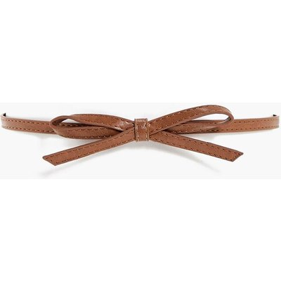 Bow Detail Skinny Belt - tan