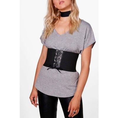 Lace Up Stretch Corset Belt - black