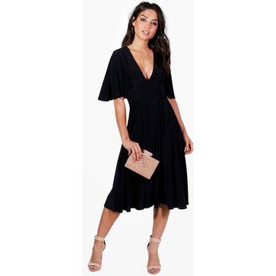Angel Sleeve Midi Skater Dress - black