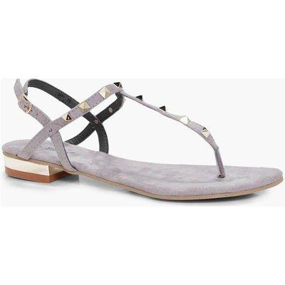 Stud T Bar Sandal - grey