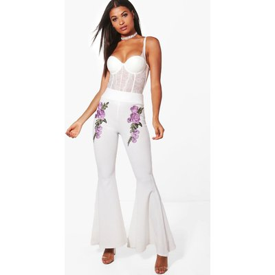 Embroidered Extreme Wide Leg Trousers - lilac