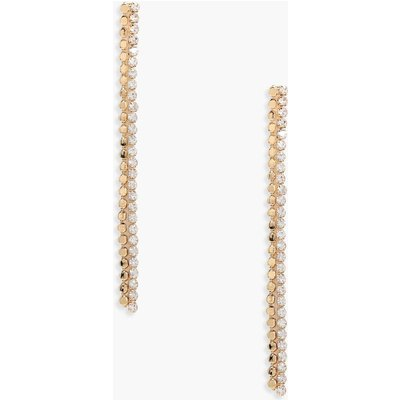 Coin And Diamante Drop Earrings - gold