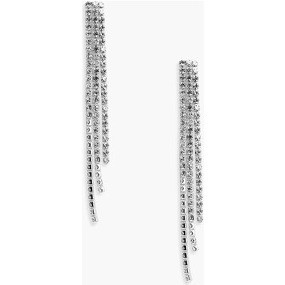 Statement Diamante Drop Earrings - silver