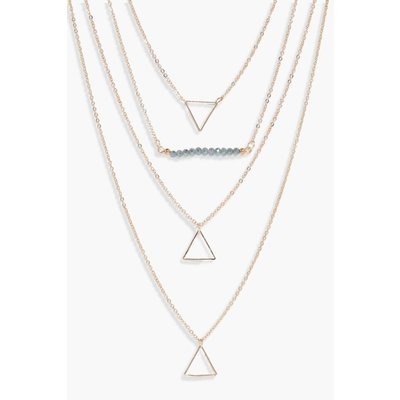 Bead And Triangle Layered Necklace - gold