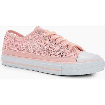 Lace Sequin Detail Canvas - pink