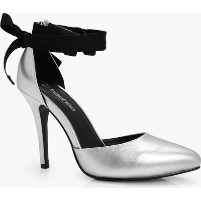 Ribbon Tie Pointed Court Heels - silver