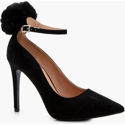 Faux Fur Pom Trim Ankle Court Shoe - black