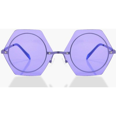 Coloured Hexagon Sunglasses - purple