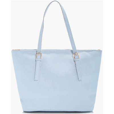 Crosshatch Buckle Tote - blue