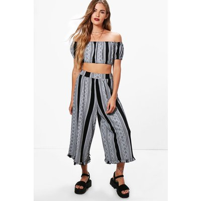 Off Shoulder& Frill Hem Trouser Co-ord - multi