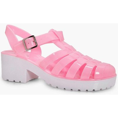 Heeled Contrast Jelly - pink
