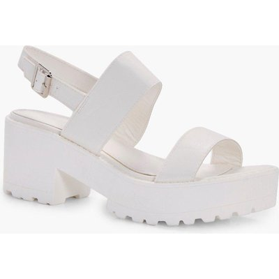 Cleated Double Strap Sandal - white