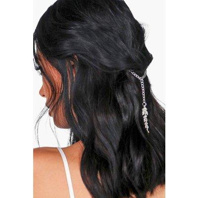 Diamante Pendant Detail Hair Chain - silver