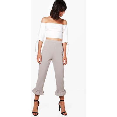 Crop & Frill Trouser Co-ord - grey