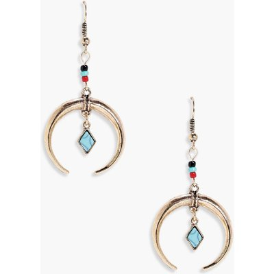 Statement Horn And Stone Earrings - gold
