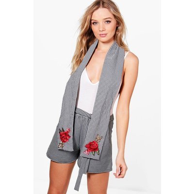 Gingham Floral Embroidered Scarf - multi