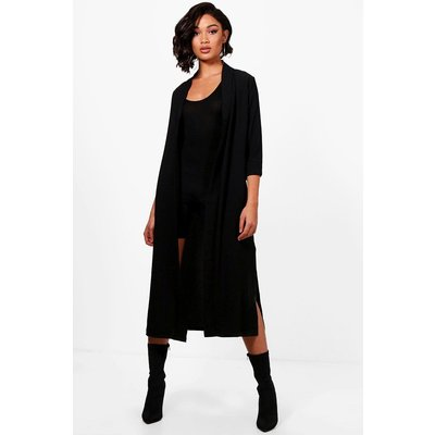 Turn Up Cuff Duster Coat - black