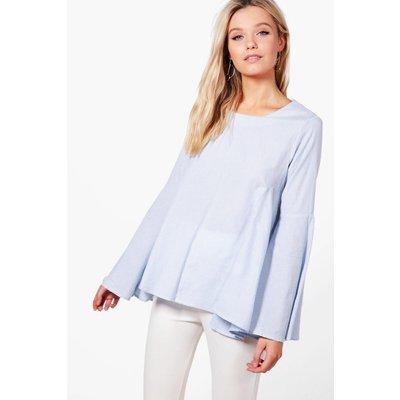 Flare Sleeve Shirt Blouse - blue