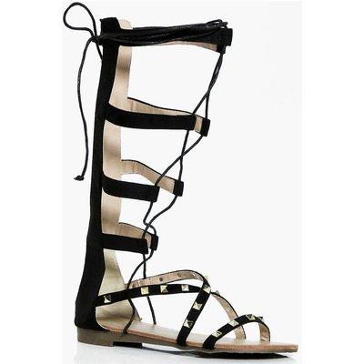 Stud Lace Up Gladiator Sandal - black