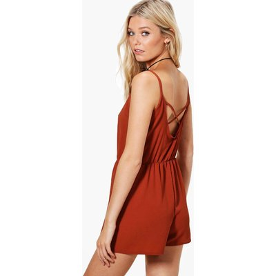 Cross Back Strappy Playsuit - rust