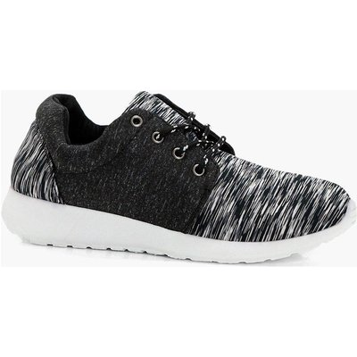 Jersey Lace Up Sports Trainer - black