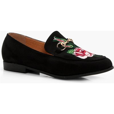 Embroidered T Bar Loafer - black