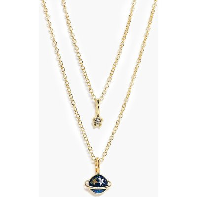 Galactic Planet Layered Necklace - gold