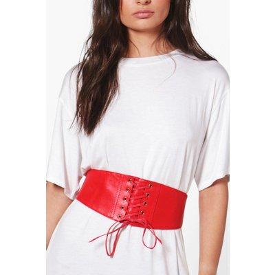 PU Lace Up Corset Belt - red