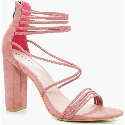 Multi Strap Block Heel - blush