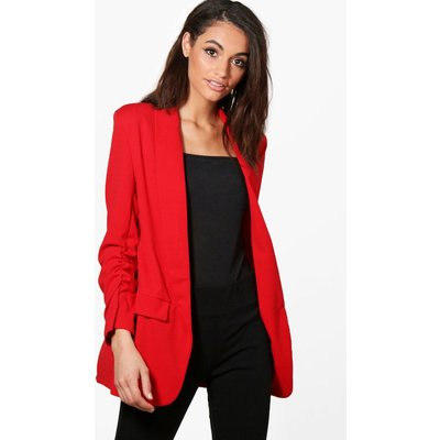Gathered Sleeve Tailored Woven Blazer - red
