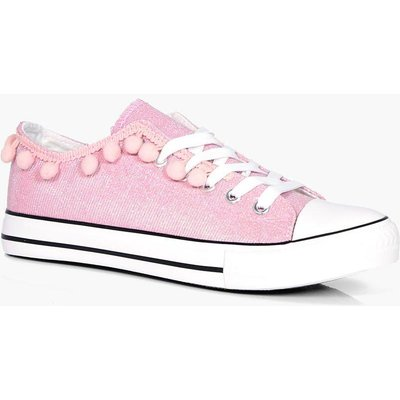 Pom Trim Lace Up Trainer - pink