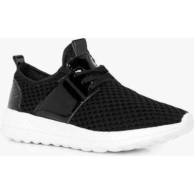 Knitted Lace Up Trainer - black