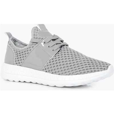 Knitted Lace Up Trainer - grey