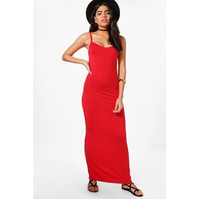 Basic Strappy Maxi Dress - red