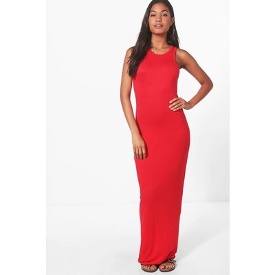 Basic Racer Front Maxi Dress - red