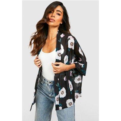 Rose Print Chiffon Kimono - black