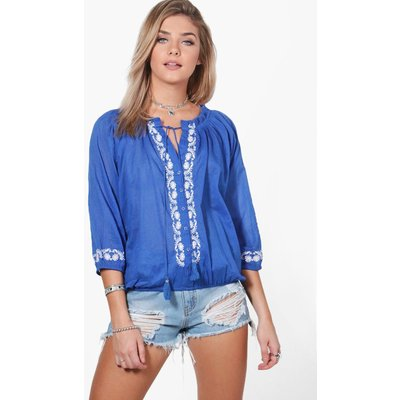 Woven Embroidered Top - blue