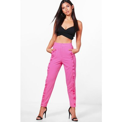 Ruffle Front Slim Fit Trousers - magenta