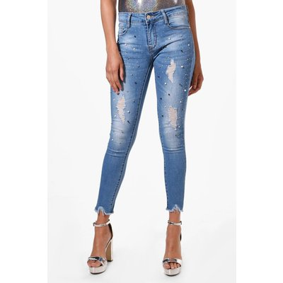 Pearl Embellished Skinny Jeans - mid blue