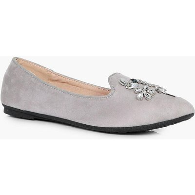 Embellished Slipper Ballet - grey