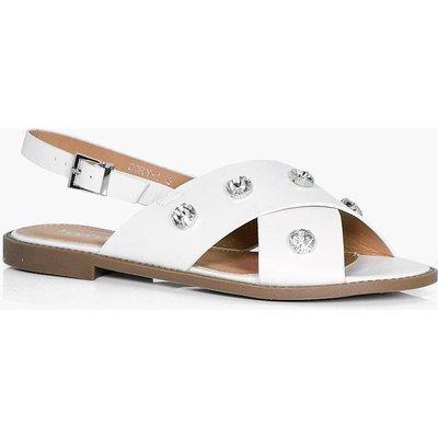Diamante Cross Strap Sandal - white