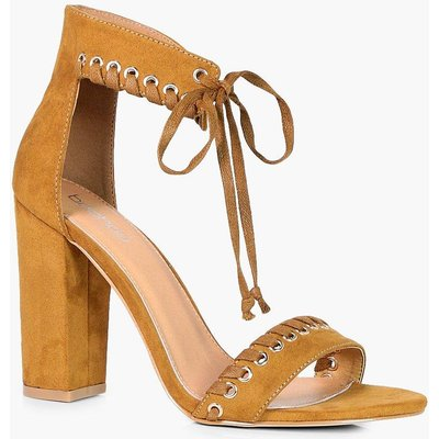 Whipstitch Detail Ankle Wrap Heel - tan