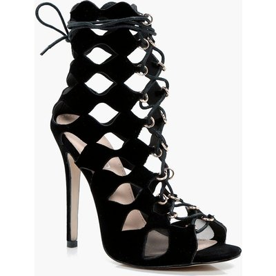 Cage Ghillie Lace Up Heels - black