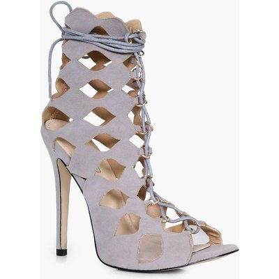 Cage Ghillie Lace Up Heels - grey