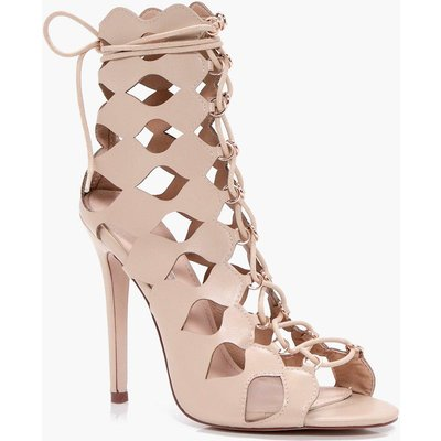 Cage Ghillie Lace Up Heels - nude