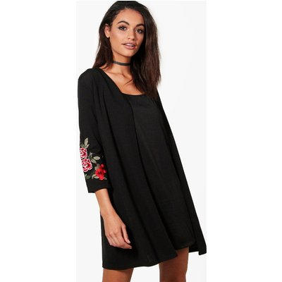 Embroidered Sleeve Duster - black