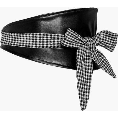 PU Waist Belt With Gingham Tie - black