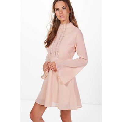 Lace Detail Flute Sleeve Skater Dress - blush