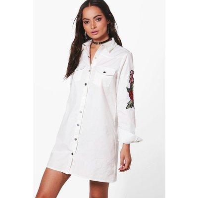 Premium Embroidered Shirt Dress - white